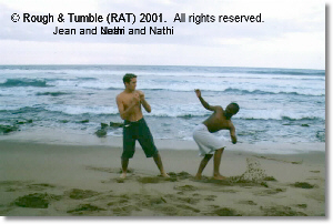 Photo of Jean Thysse and Nathi Zindela training and Garvies Beach, Bluff, South Africa