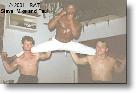 Mike doing splits on shoulders or Paul Reynolds and Steven Yates 1987